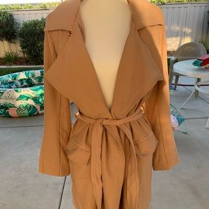 Nude satin lined coat with waist tie